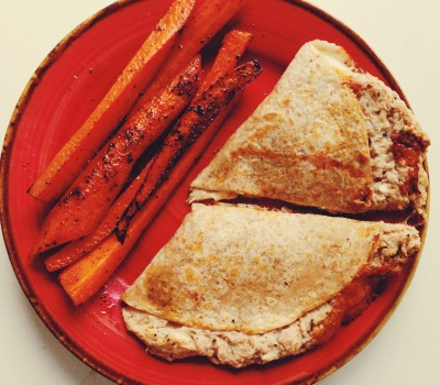 Tuna Melt with Roasted Carrots