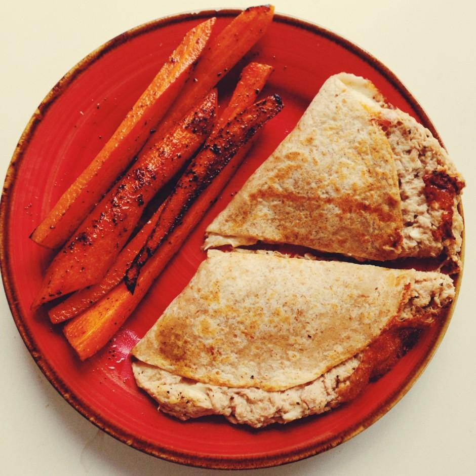 Tuna Melt with Roasted Carrots