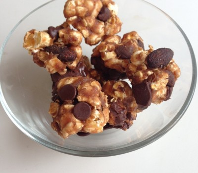 Chocolate PB & Jelly Whey Popcorn Balls