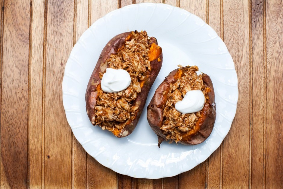 BBQ Pulled Chicken Stuffed Sweet Potatoes